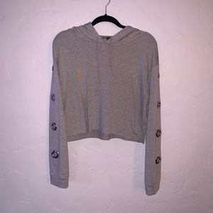 Gray Forever 21 cropped hoodie
